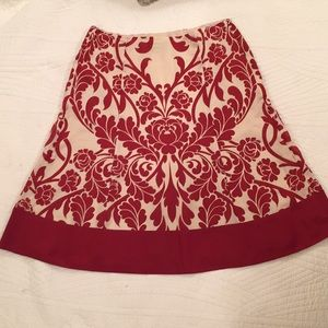 Ann Taylor red/cream print lined Cotton and silk